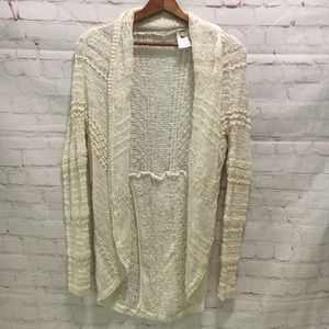 Knit & Knotted cream lace long cardigan sweater XS